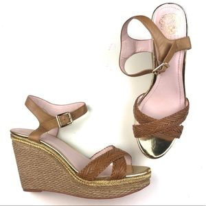 NEW Vince Camuto Tan Gold Espadrille Wedges 10
